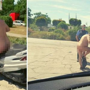 """Jest tak gorąco, że kierujący skuterem jechał nago. Zatrzymała go policja. """"No co? Przecież jest gorąco!""""."""